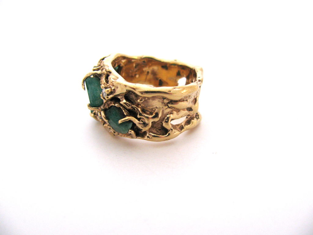 arthur king gold and emerald ring c1960