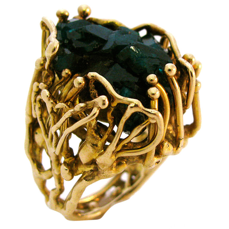 gold and emerald ring circa 1970 unique