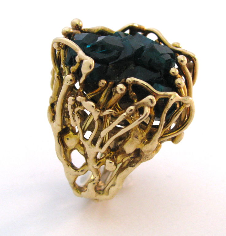 Gold and Emerald Crystal Ring circa 1970 Unique Kimberly Klosterman Jewelr