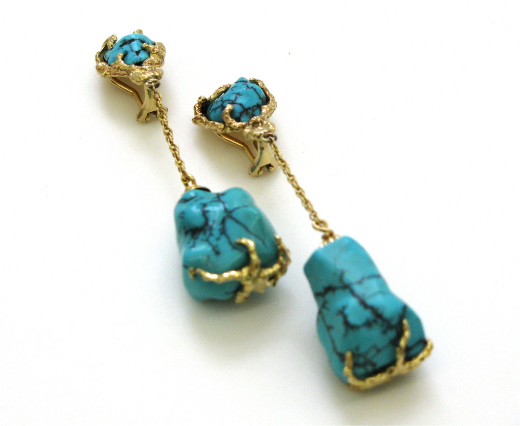 Gold And Turquoise Drop Earrings Circa 1960 Signed 4