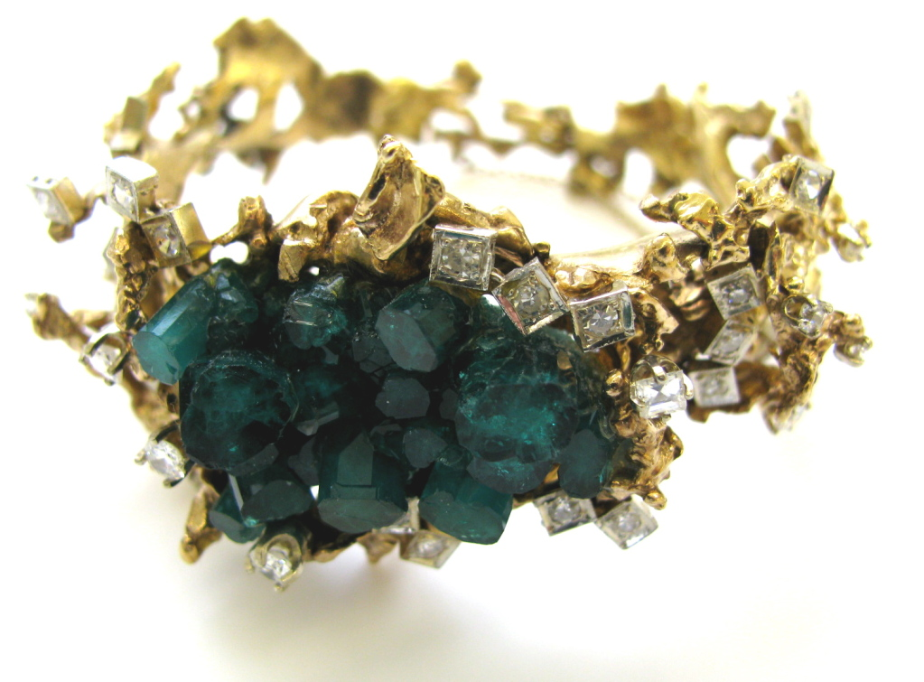 A Brutalist Emerald and Diamond Bracelet, c1970 - Kimberly ...