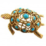 BOUCHERON PARIS, A Gold and Turquoise Scatter Pin, c 1950-1