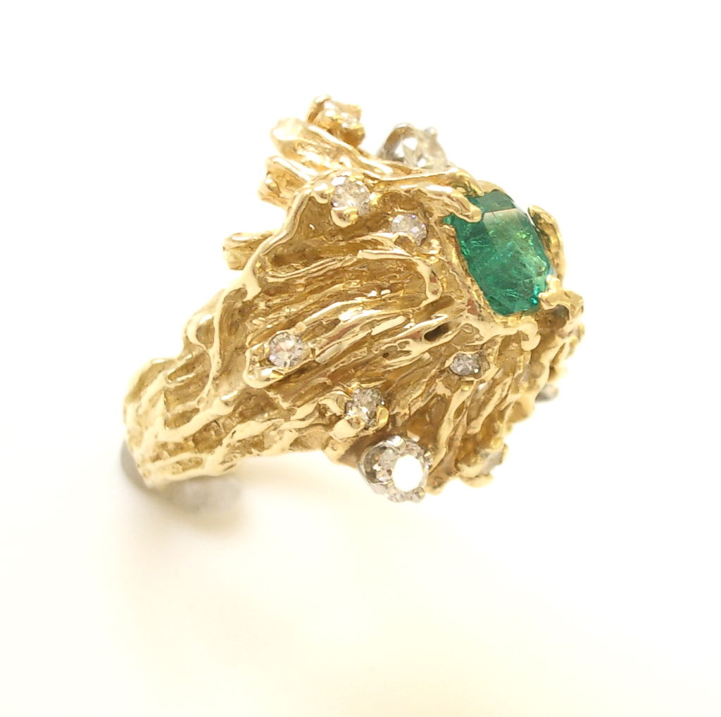 gold emerald and ring by nathan cabot