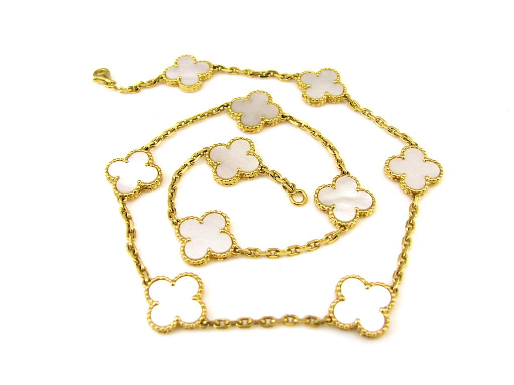 Van Cleef And Arpels, Mother Of Pearl Vintage Alhambra Necklace4