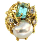 Arthur King Pearl and Emerald Ring