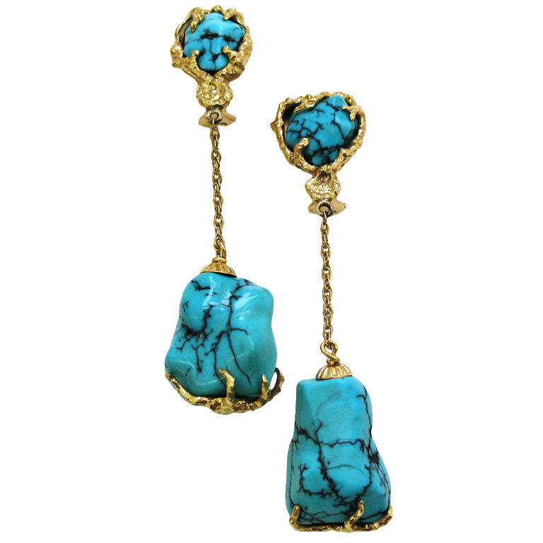gold and turquoise drop earrings circa 1960 signed. Black Bedroom Furniture Sets. Home Design Ideas